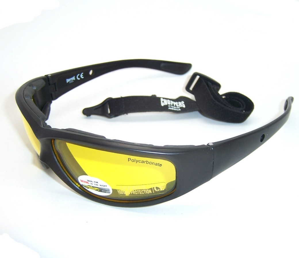 Choppers Night Drive Yellow Lens Goggle Glasses (Anti-Fog Coated) 91747-YL