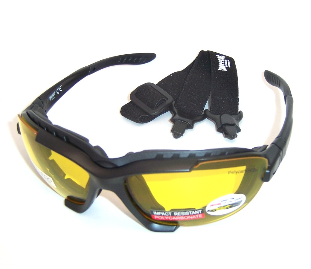 Choppers Convertible Night Drive Yellow Lens Goggles Glasses (Anti-Fog Coated) 91969-YL