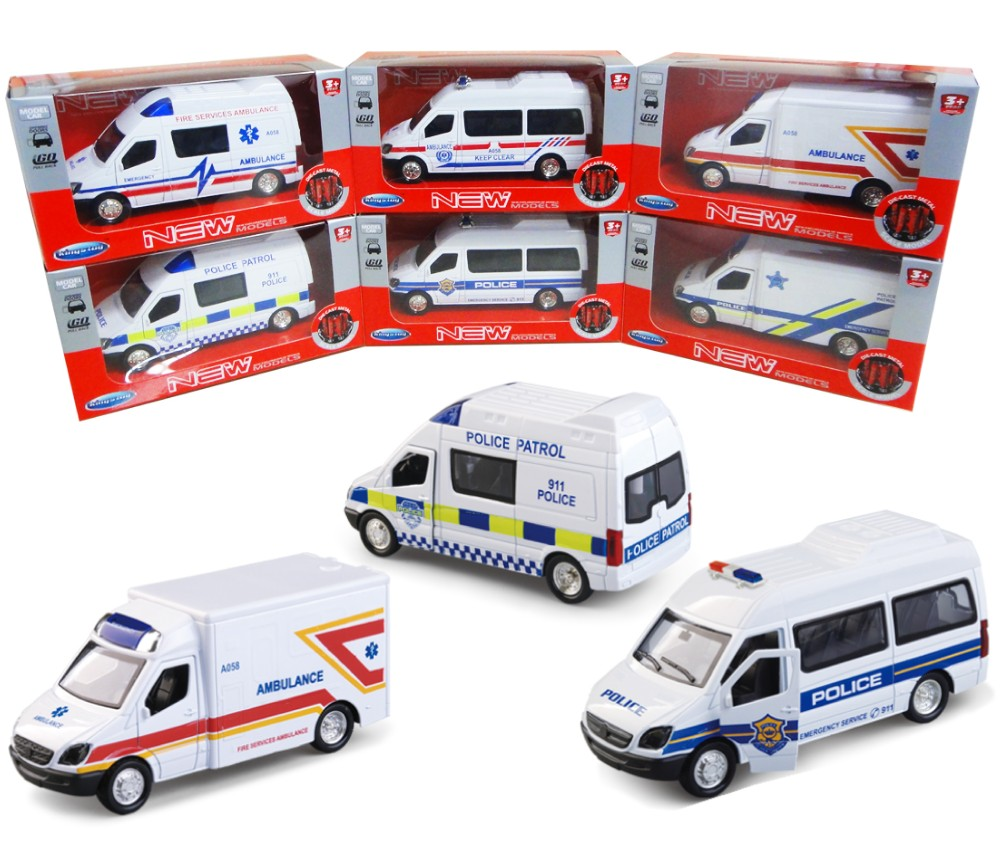 1:36 Diecast Emergency 3 Assorted (Fire Engine, Police Aar, Ambulance) FY5058SW