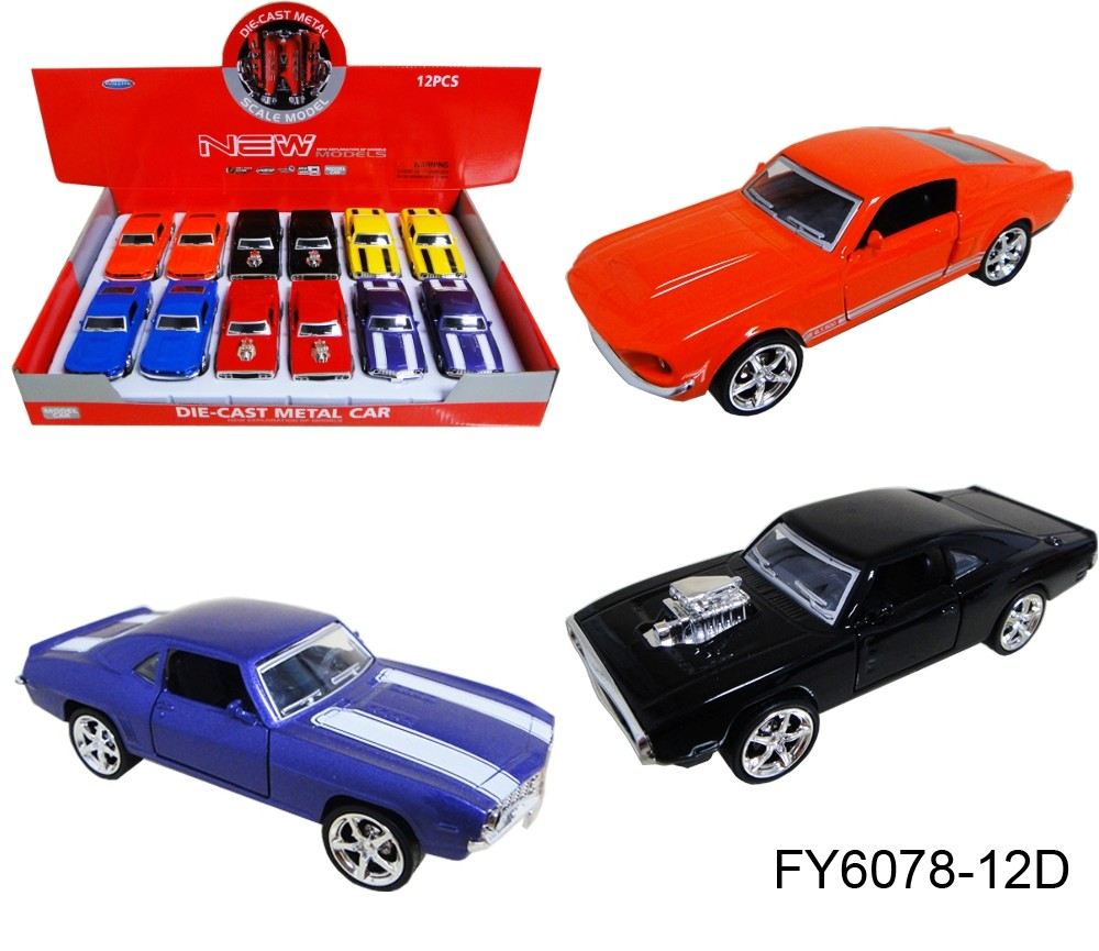 1:36 Diecast Muscle Cars 3 Assorted (Ford, Dodge, Chevrolet) FY6078-12D