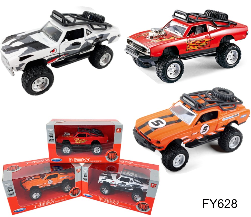 1:36 Diecast 4x4 Muscle Cars 3 type assorted (Ford, Dodge, Chevrolet) FY628W