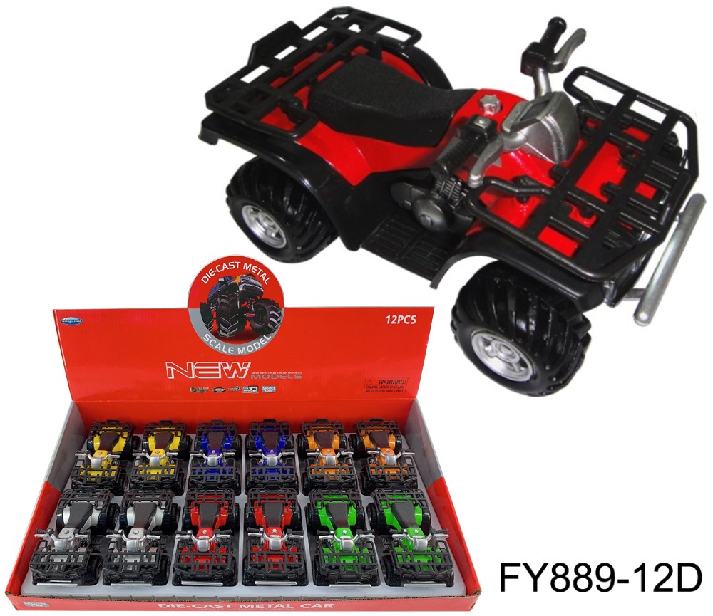 1:16 Diecast ATV Motorcycle 6 Colours Asst. FY889-12D