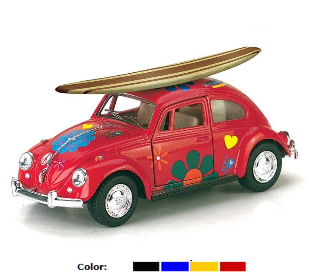 1:32 1967 VW Classical Beetle with Printing & Wooden Surfboard KT5057DFS1