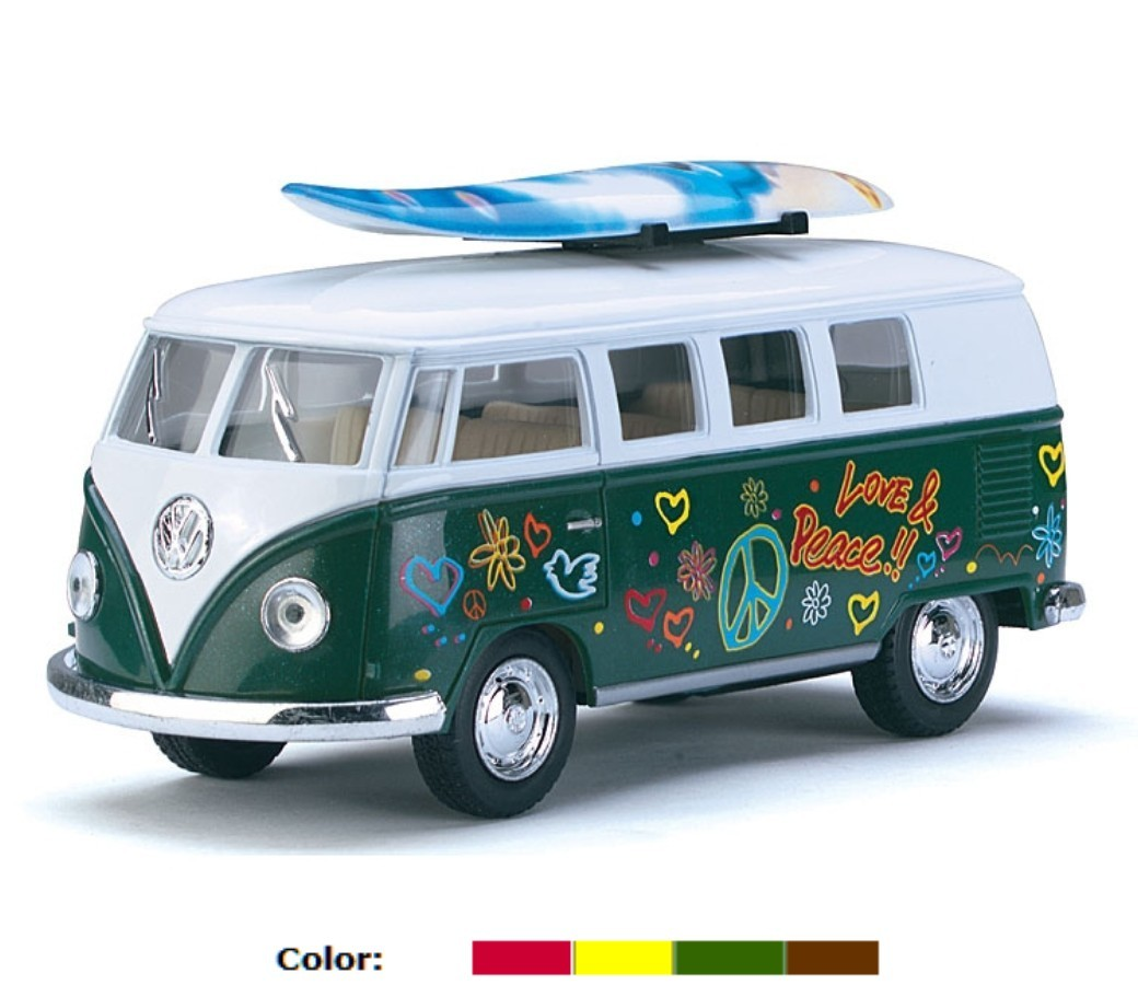 1:32 1962 VW Classical Bus with Printing & Surf Board (4 Colors) KT5060DFS