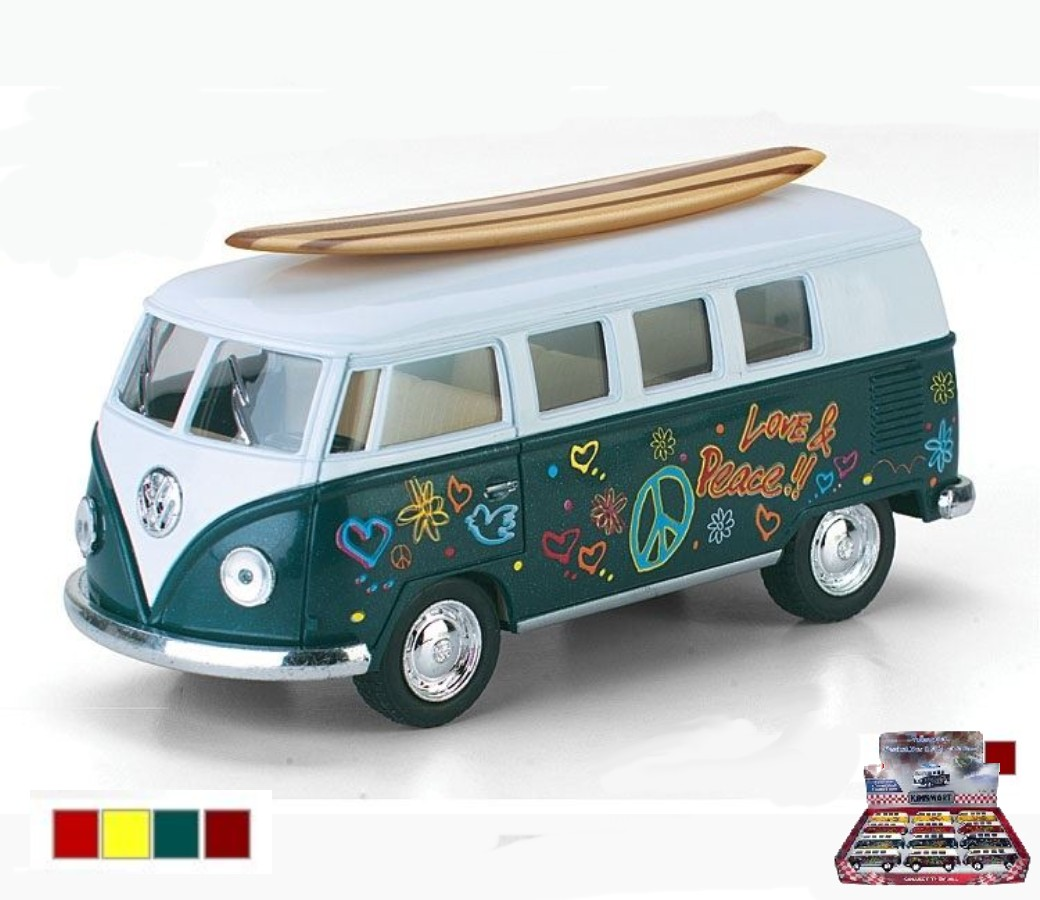 1:32 1962 VW Classical Bus with Printing & Wooden Surf Board (4 Colors) KT5060DFS1