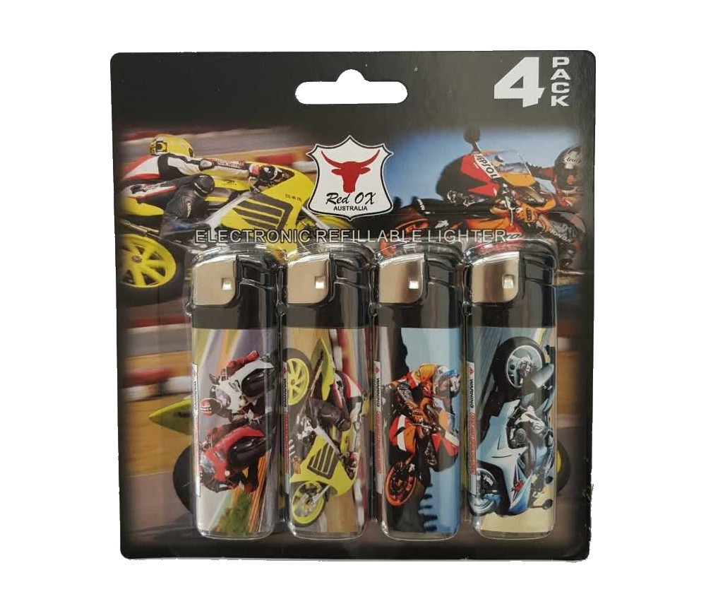 Bike Pack of 4 Electronic Gas Refillable Lighters RF-834-Bike-PK4