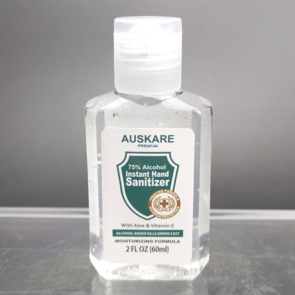 AusKare Hand Sanitizer 60ml - 75% Alcohol with Moisturizer and Vitamin E & Aloe Vera Gel