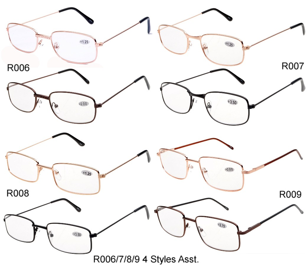 Bulk Buy Reading Glasses Metal Frame 4 Styles Assorted R006/7/8/9