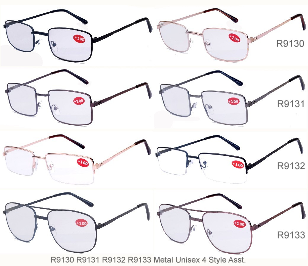 Metal Frame Reading Glasses 4 Style Assot. R9130/31/32/33