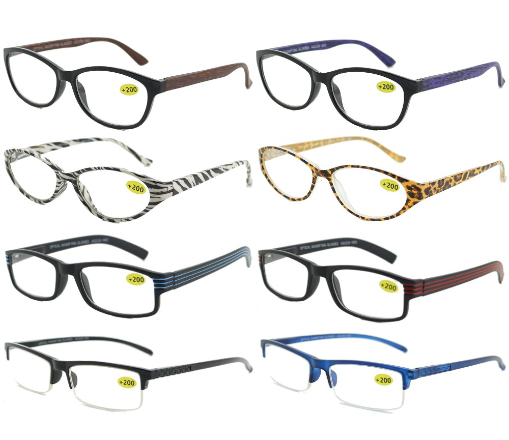 Spring Temple Fashion Plastic Reading Glasses 4 Style Asstd R9180/81/82/83