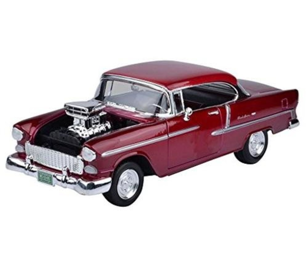 1:18 1955 Custom Chevy Bel Air Coupe with Blown Engine (Red) MM79002RD