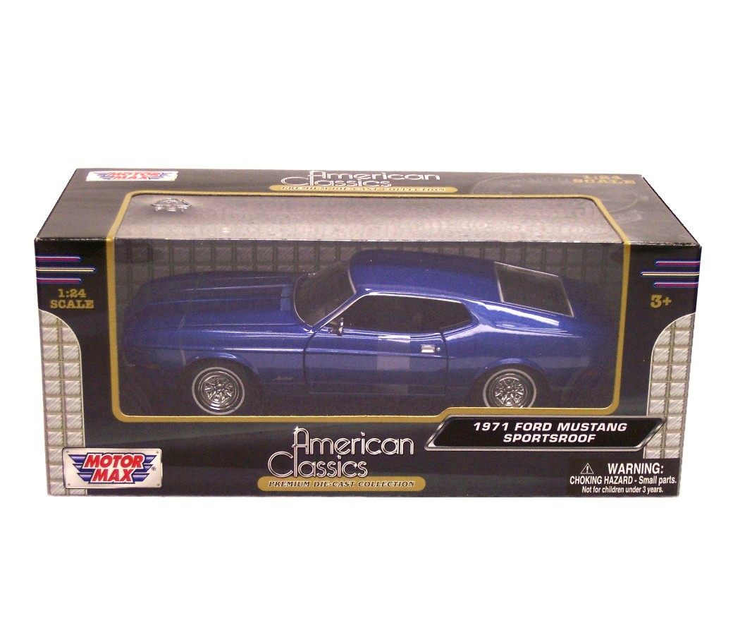 1:24 1971 Ford Mustang Sportsroof (Metallic Blue) MM73327MB