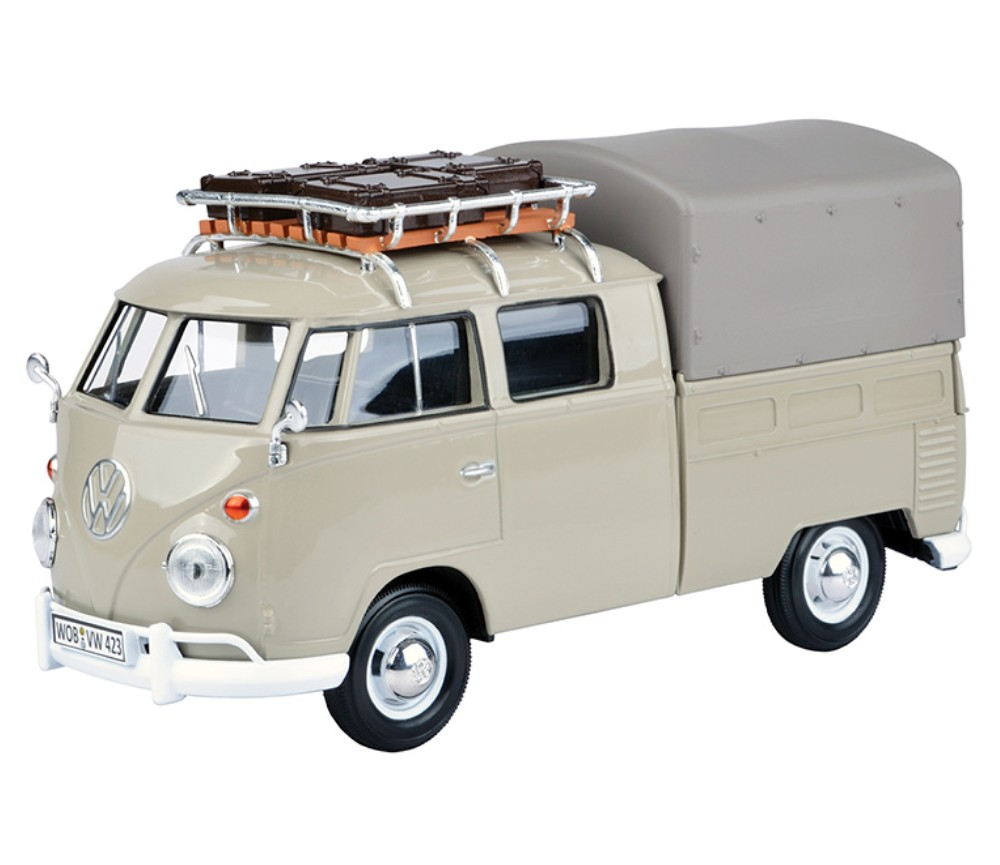 1:24 VW Type 2 (T1) - Pick-up with Roof Rack, Suit Case & Tarapauline Cover (Savannen Beige) MM79553SB