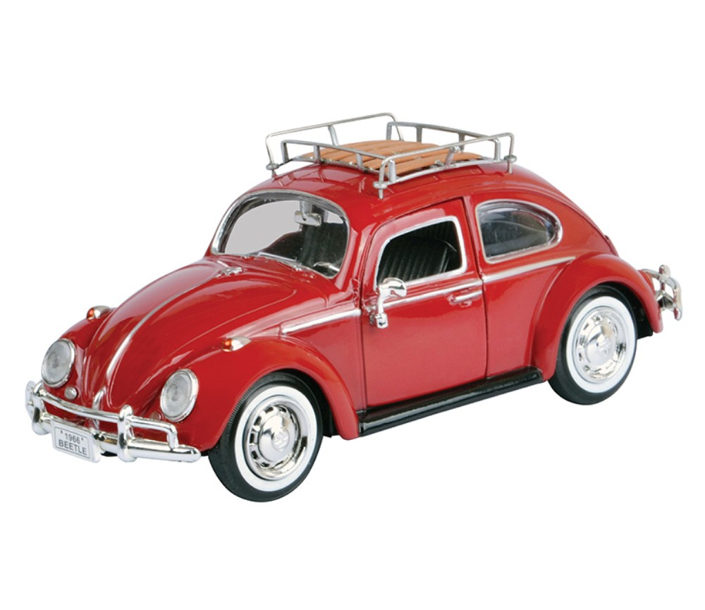 1:24 1966 Volkswagen Classic Beetle with Roof Luggage Rack (Magma Red) - MM79559RR