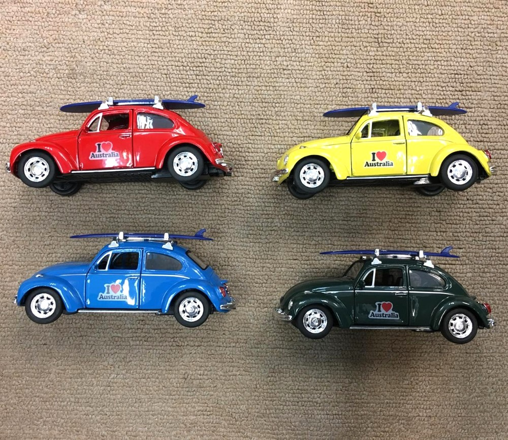 "4.75"" VW Beetle with Surfboad & I Love Australia (1:34) WL42343SB-D-AU"